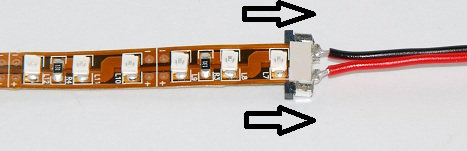 connected led strip light with solderless connector