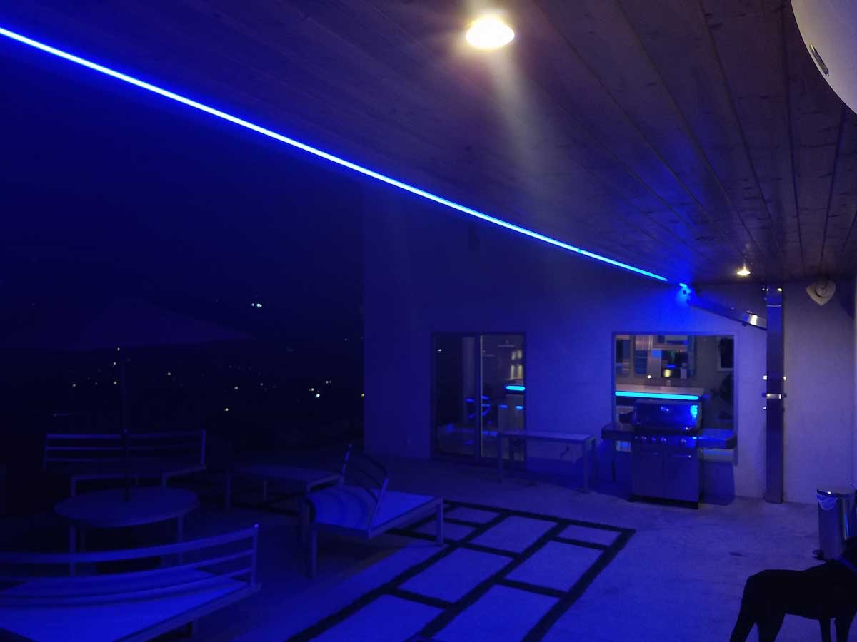 bright blue patio strip lighting example