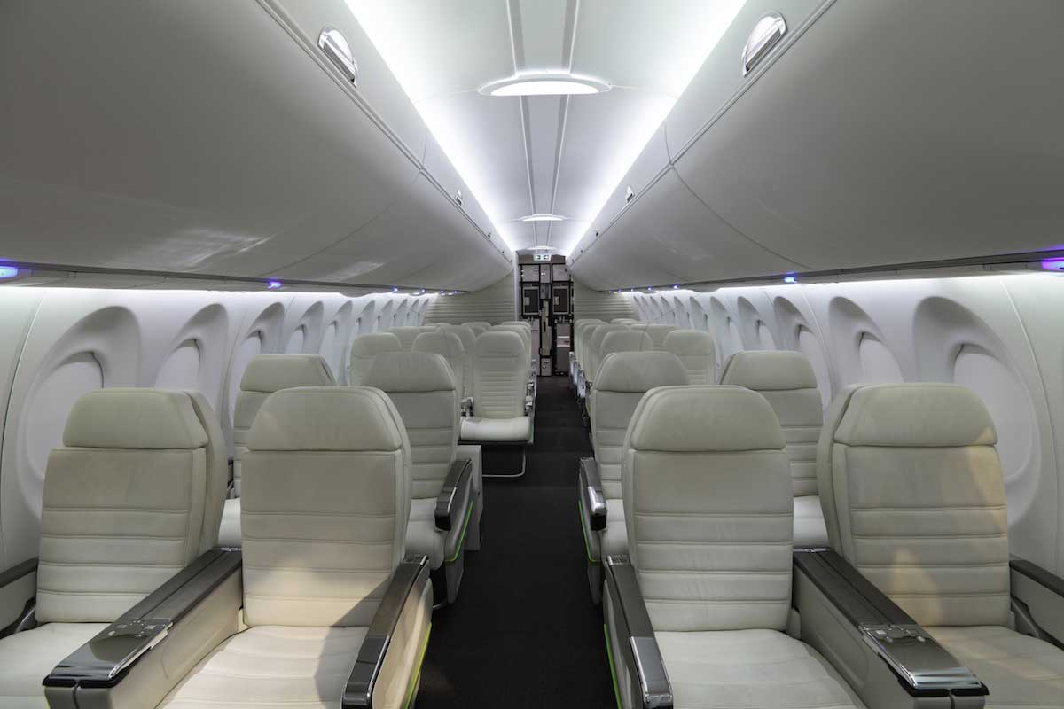 LED strip lighting in airplane private jet