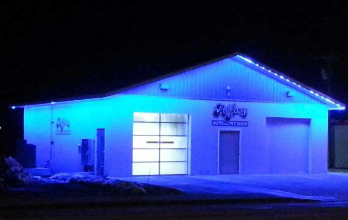 LED wall accent exterior car wash