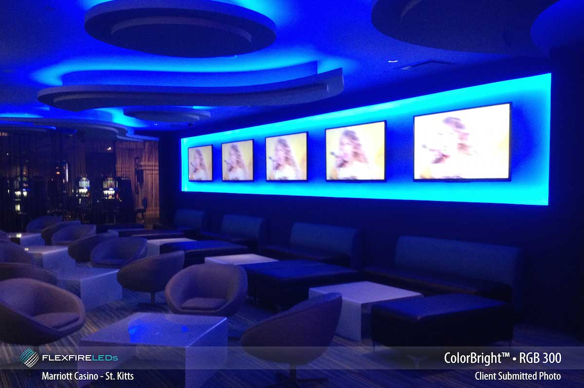 Commercial led strip lighting projects from flexfire leds marriott hotel resort rgb strip lighting aloadofball Gallery
