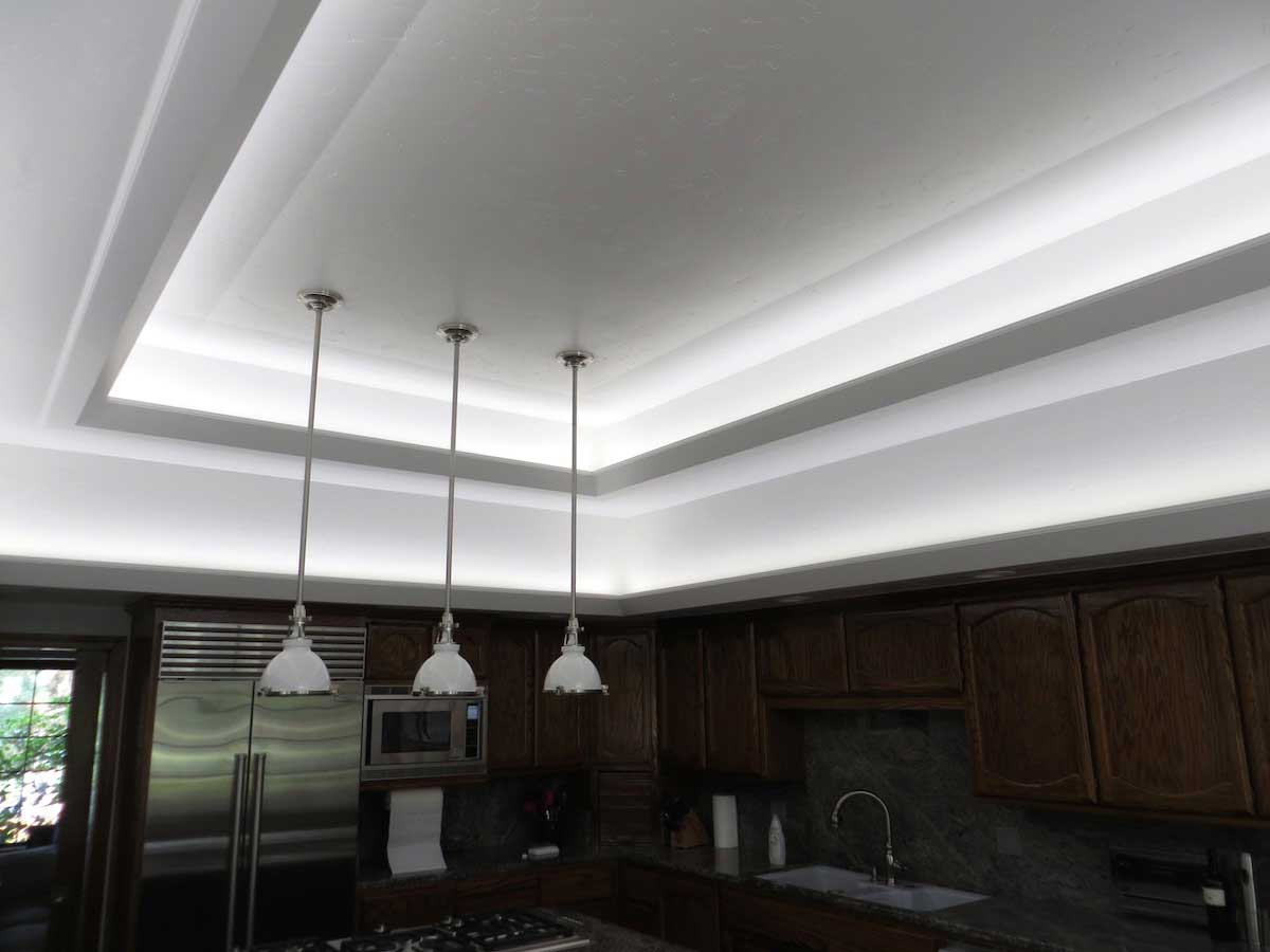 Modern kitchen LED cove lighting 2
