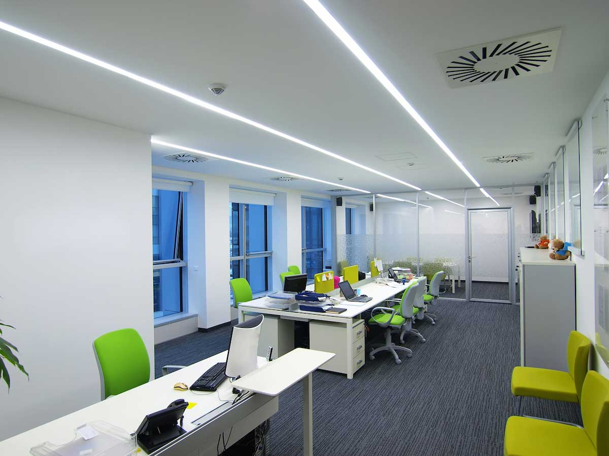 Commercial led strip lighting projects from flexfire leds modern linear office led lighting example mozeypictures Gallery