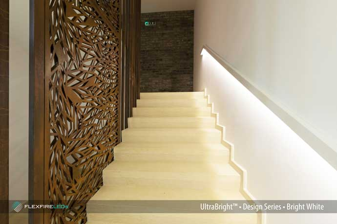 Modern stair handrail lighting