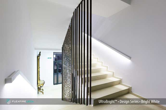 Modern stairway linear lighting