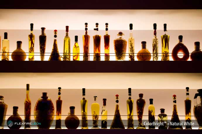 restaurant bar shelf lighting example