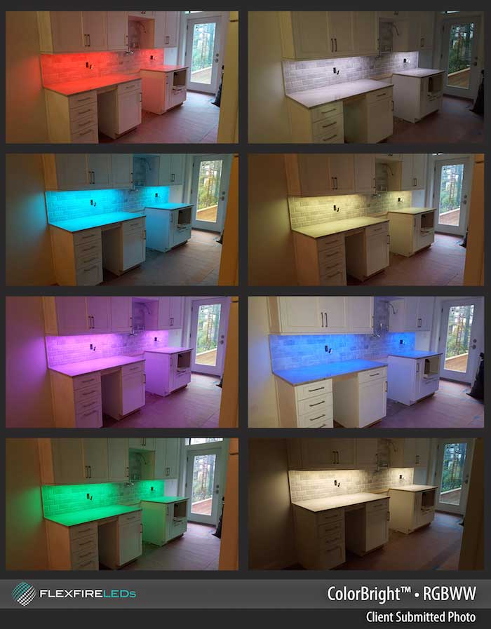 RGB Color Changing Under Cabinet LED Strip Lighting Project. Rgb Color  Changing Kitchen Cabinet Example