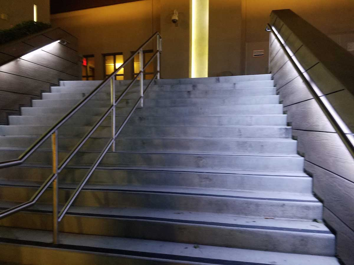under handrail commercail stair lighting