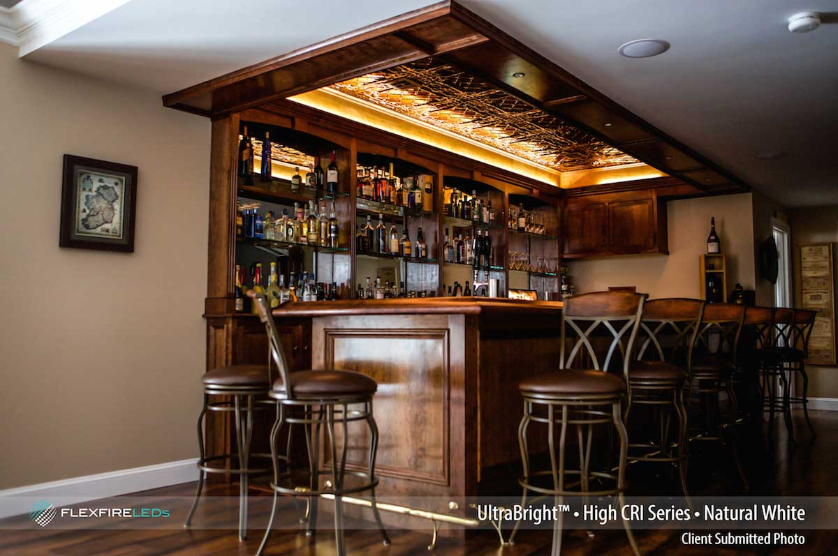 Commercial led strip lighting projects from flexfire leds for Wooden bar design